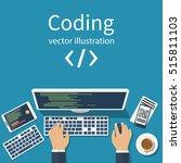 programmer  coder in the... | Shutterstock .eps vector #515811103