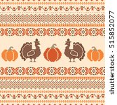 thanksgiving retro cross stich... | Shutterstock .eps vector #515852077