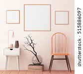 mockup posters in the frame on... | Shutterstock . vector #515886097