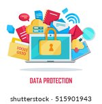 data protection banner. blue... | Shutterstock .eps vector #515901943