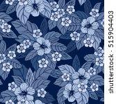 indigo floral seamless pattern... | Shutterstock .eps vector #515904403