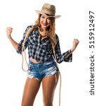 lucky sexy blonde woman cowgirl   Shutterstock . vector #515912497