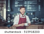 smiling man in a cafe | Shutterstock . vector #515918203