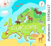 europe isometric map with flora ... | Shutterstock .eps vector #515926117