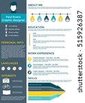 flat resume infographic design. ... | Shutterstock .eps vector #515926387