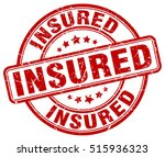 insured stamp.  red round... | Shutterstock .eps vector #515936323
