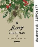 greeting christmas card in... | Shutterstock .eps vector #515936677