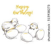greeting card of chick peeking... | Shutterstock .eps vector #515938273