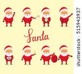 vector santa claus set. winter... | Shutterstock .eps vector #515943937