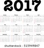 2017 calendar in minimalistic... | Shutterstock .eps vector #515949847