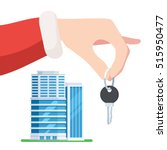 hand santa gives the key to the ... | Shutterstock .eps vector #515950477