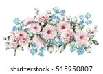 Stock photo  flowers and leaf illustration pastel colors little pink rose me nots watercolor branch of 515950807