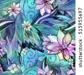 floral watercolor seamless... | Shutterstock . vector #515955697