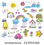 Cute Kid Drawing Isolated On...