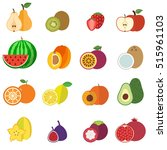 fruits collection flat design... | Shutterstock .eps vector #515961103