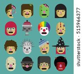 funny characters icon set | Shutterstock .eps vector #515966377