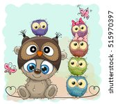 cute cartoon teddy bear and... | Shutterstock .eps vector #515970397