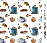 watercolor pattern with coffee... | Shutterstock . vector #515971213