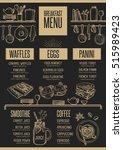 breakfast menu placemat food... | Shutterstock .eps vector #515989423