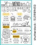 cafe menu food placemat... | Shutterstock .eps vector #515989453