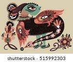 ethnic fantastic animal doodle... | Shutterstock . vector #515992303