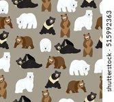 brown bear  polar bear and... | Shutterstock .eps vector #515992363