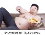 portrait of lazy fat man... | Shutterstock . vector #515995987