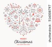 christmas greeting card... | Shutterstock .eps vector #516008797