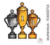 three cups first gold  second... | Shutterstock .eps vector #516020713