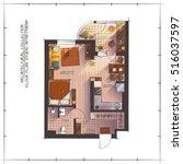architectural color floor plan. ... | Shutterstock .eps vector #516037597
