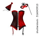 carnival corset with hat and... | Shutterstock .eps vector #516045913