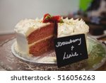 close up of strawberry cake on... | Shutterstock . vector #516056263
