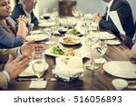 business people dining together ... | Shutterstock . vector #516056893