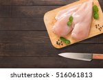 top view raw chicken on cutting ... | Shutterstock . vector #516061813