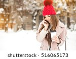 winter girl fun | Shutterstock . vector #516065173