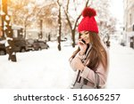 winter girl fun | Shutterstock . vector #516065257