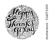 happy thanksgiving card. hand... | Shutterstock .eps vector #516071203