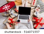 christmas online shopping top... | Shutterstock . vector #516071557