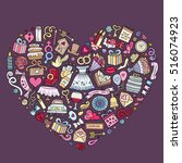 colorful vector hand drawn set... | Shutterstock .eps vector #516074923