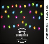 christmas lights background... | Shutterstock .eps vector #516075103