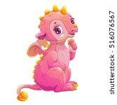 little cute cartoon sitting... | Shutterstock .eps vector #516076567