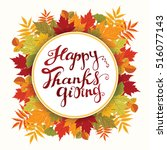 happy thanksgiving card. hand... | Shutterstock .eps vector #516077143