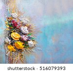 oil painting a bouquet of...   Shutterstock . vector #516079393