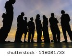low angle view silhouette of... | Shutterstock . vector #516081733