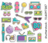 collection of vintage retro... | Shutterstock .eps vector #516097387
