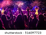 cheering crowd and fireworks  ... | Shutterstock . vector #516097723