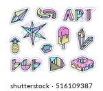 set of vector pop art design... | Shutterstock .eps vector #516109387