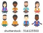 businessman meditating in yoga... | Shutterstock .eps vector #516125503