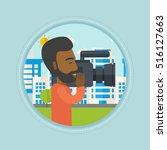 an african american cameraman... | Shutterstock .eps vector #516127663