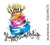cake ans happy birthday  ...   Shutterstock .eps vector #516149173